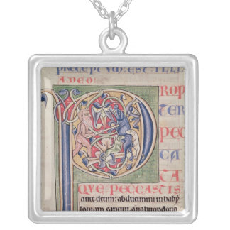 Historiated initial 'P' depicting a boar hunt Custom Necklace