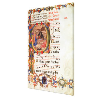 Historiated initial 'P' depicting the Nativity Gallery Wrapped Canvas