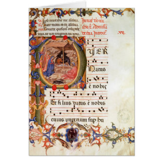 Historiated initial 'P' depicting the Nativity Card