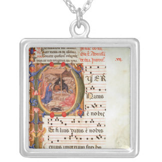 Historiated initial 'P' depicting the Nativity Jewelry