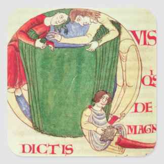 Historiated initial 'Q' depicting drapers Stickers