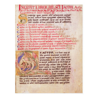 Historiated initial 'Q' depicting three Postcard