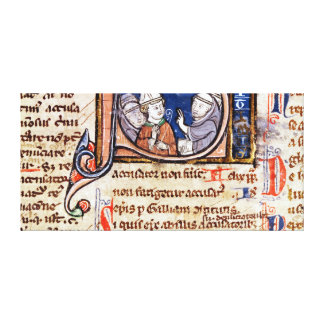 Historiated initial 'S' depicting Pope Gregory Stretched Canvas Prints
