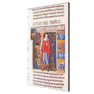 Historiated initial 'U' depicting Joel Stretched Canvas Print
