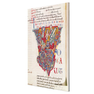Historiated initial 'V' depicting a scene Stretched Canvas Prints