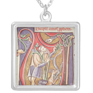 Historiated initial 'V' depicting Amos Silver Plated Necklace