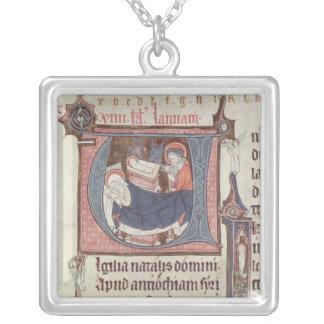 Historiated initials 'U' and 'I' Square Pendant Necklace