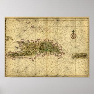Historic 1639 Map of Hispaniola - Joan Vinckeboons Print