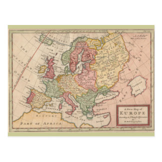 Historic 1721 Map of Europe Postcards