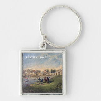 Historic 1853 Painting Perth Ontario Silver-Colored Square Key Ring