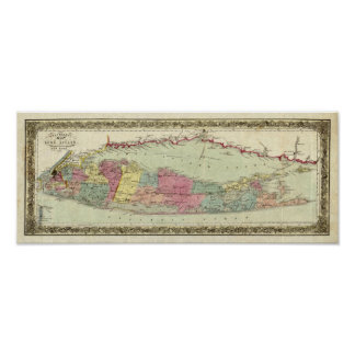 Historic 1855-1857 Travellers Map of Long Island Poster