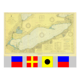 Historic 1918 Nautical Lake Erie chart Postcard