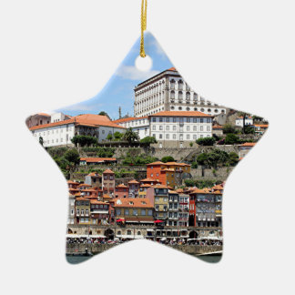 Historic buildings and river, Porto, Portugal Ceramic Ornament