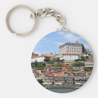 Historic buildings and river, Porto, Portugal Key Ring