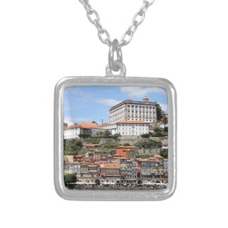 Historic buildings and river, Porto, Portugal Silver Plated Necklace