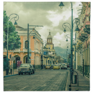 Historic Center Urban Scene at Riobamba City Napkin