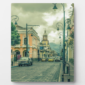 Historic Center Urban Scene at Riobamba City Plaque