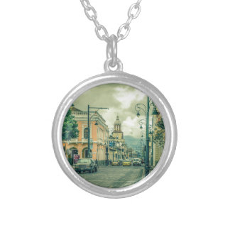 Historic Center Urban Scene at Riobamba City Silver Plated Necklace