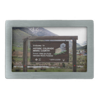 Historic Colorado mining country sign Belt Buckles