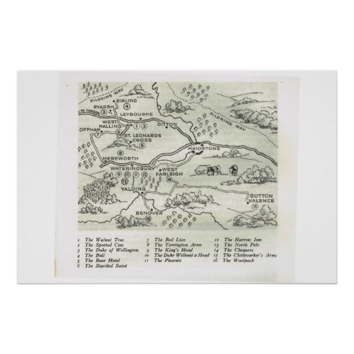 Historic Inns of kent,  Map of Inns near Maidstone Print