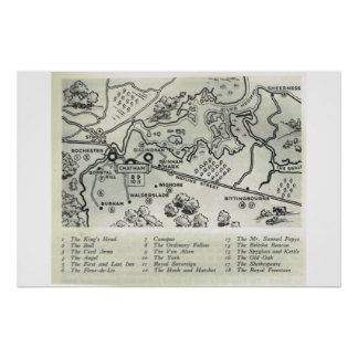 Historic Inns of Kent, Map of North Kent, Poster