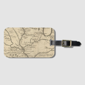 Historic llinois Map of 1718 Luggage Tag