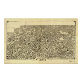 Historic Map of Atlanta, Georgia, 1919 Poster