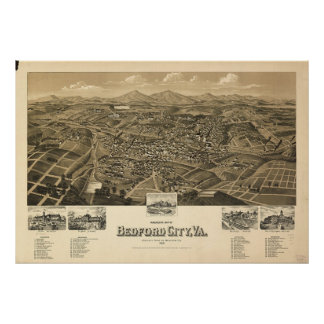Historic Map of Bedford Virginia Poster