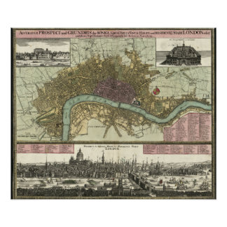 Historic Map of London, England (1740) Poster
