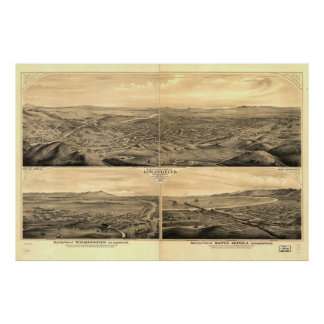 Historic Map of Los Angeles, 1877 Poster