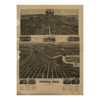Historic Map of Pueblo Colorado 1890 Poster
