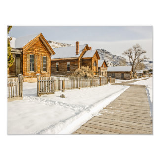 Historic Montana Ghost Town in Winter Photo Print