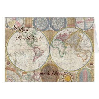 Historic Old World Map, 1794 - Happy Birthday Card