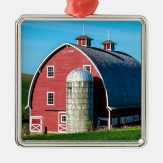 Historic Red Barn - Palouse Region - Washington Silver-Colored Square Decoration