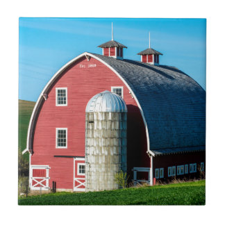 Historic Red Barn - Palouse Region - Washington Small Square Tile