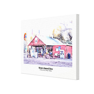 Historic Route 66 Arizona General Store Watercolor Canvas Print