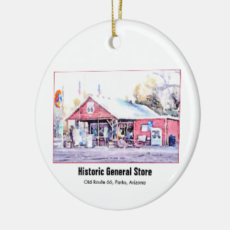 Historic Route 66 Arizona General Store Watercolor Ceramic Ornament