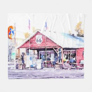 Historic Route 66 Arizona General Store Watercolor Fleece Blanket