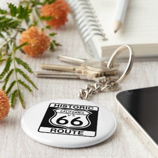 Historic Route 66 - California Basic Round Button Key Ring