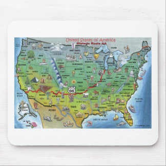 Historic Route 66 Cartoon Map Mouse Pad
