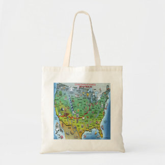 Historic Route 66 Cartoon Map Tote Bag