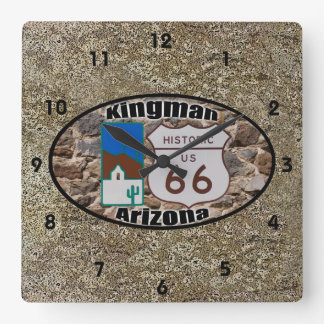 Historic Route 66 ~ Kingman, Arizona Square Wall Clock
