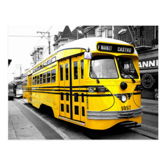 Historic Streetcar with Striking Yellow Color Postcard