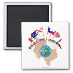 Historic Texas Flags, Seal and Olde Tyme Map Refrigerator Magnet