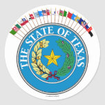 Historic Texas Flags with Seal Round Sticker