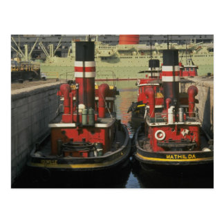 Historic tugs at Montreal waterfront, Quebec, Cana Postcard
