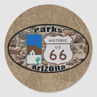 Historic US Route 66 Parks Arizona Classic Round Sticker