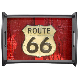 Historic US Route 66 Sign on Red Background Serving Tray