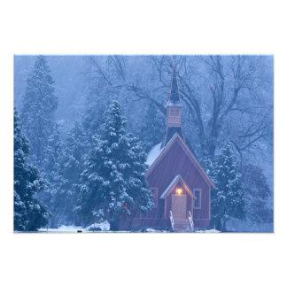 Historic Yosemite Valley Chapel during heavy Photographic Print