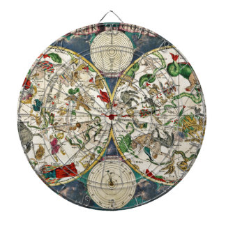 Historic Zodiac Map, 1670 Dartboard